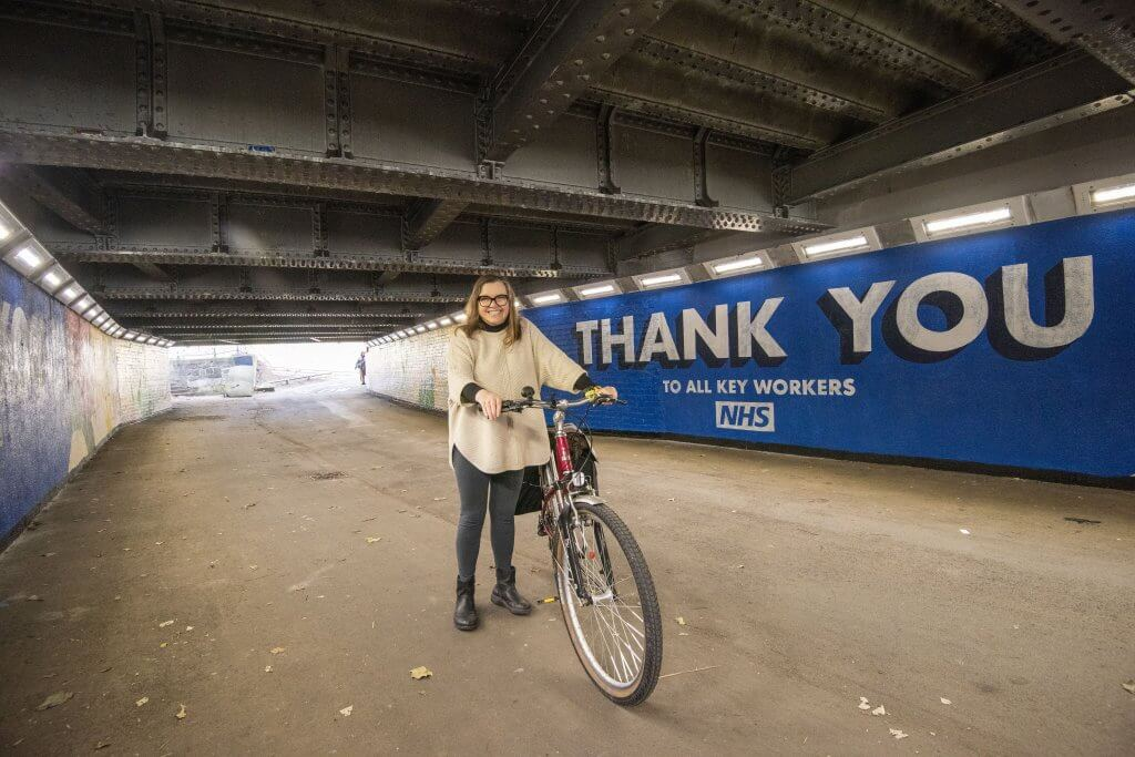 Portfolio Holder for Transport Cllr Adele Williams on the cycle route