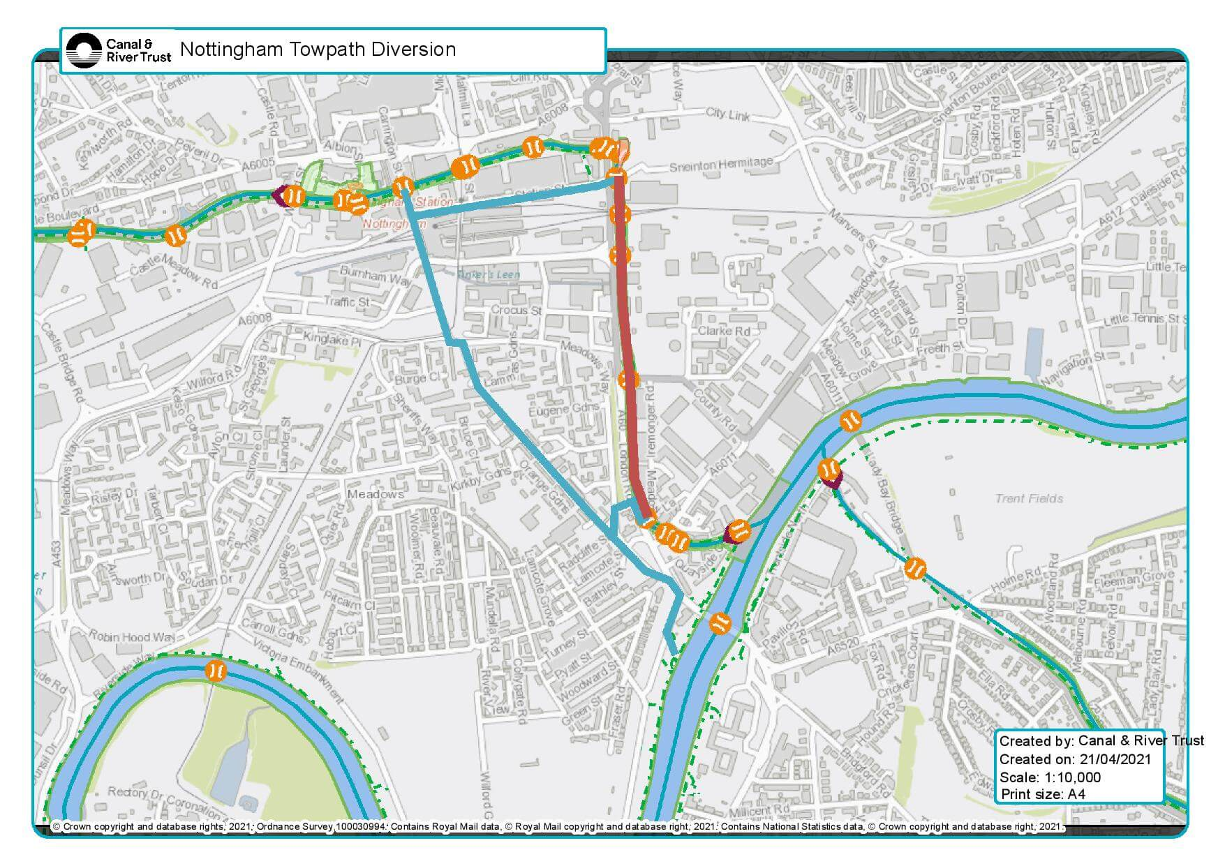 towpath diversion map