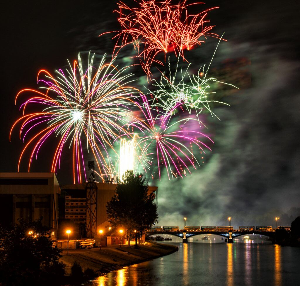 Fireworks over Trent Bridge