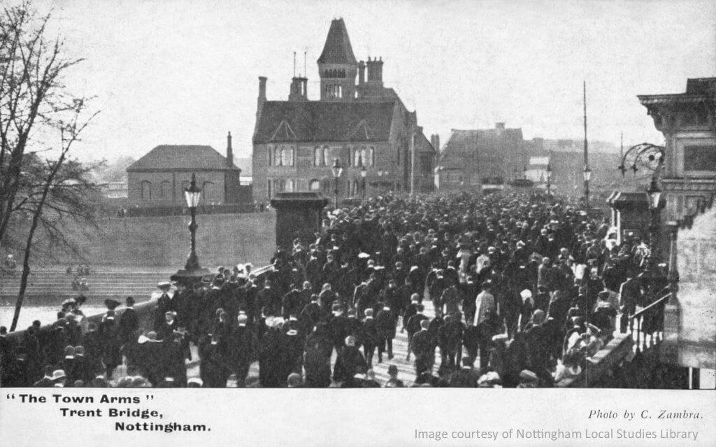 Crowds on the bridge 1900
