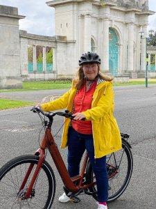 Cllr Healy on her electric bike