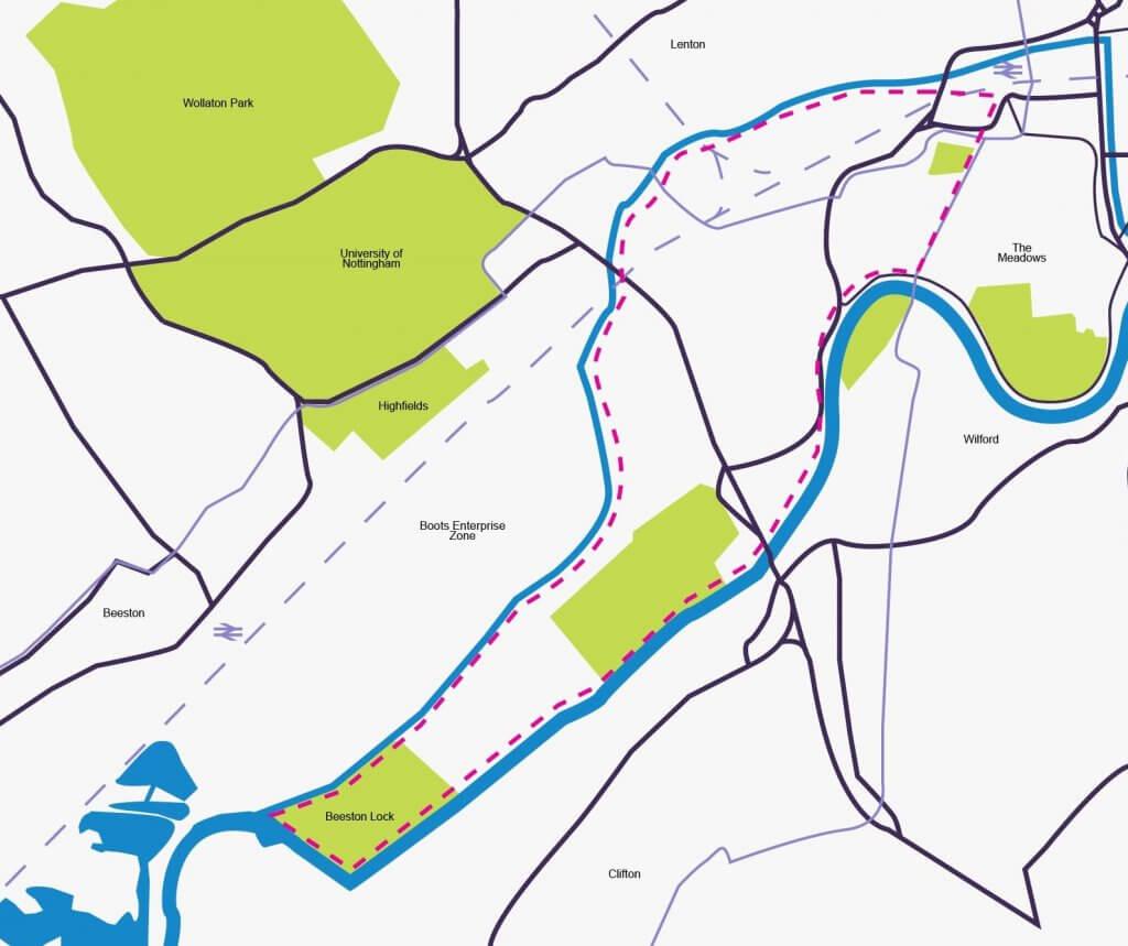 Route to Beeston Lock