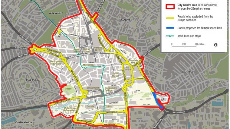 Map showing proposal of roads within Nottingham to become 20mph