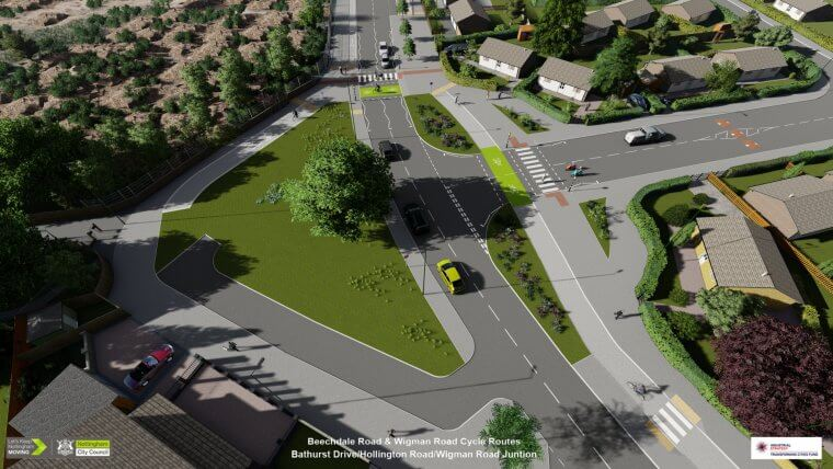 Visualisation of new cycle infrastructure on Wigman Road